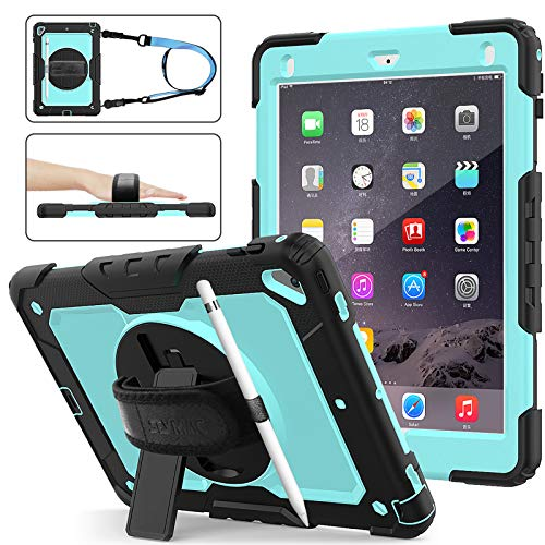 SEYMAC Stock iPad 6th/5th Generation Case, Shockproof [Full-body] Protective Case with 360 Rotating Stand Pencil Holder[ Screen protector] & [Hand Strap] for New iPad 2017/2018 (Skyblue+Black)