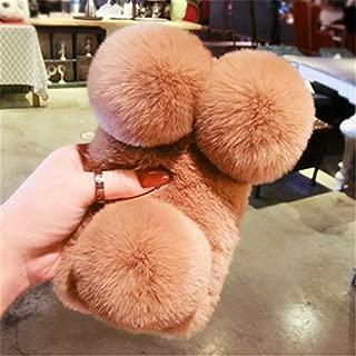 Case for Huawei Y550, Lovely Warm Handmade Fur Panda Furry Luxury Bling Crystal Rhinestone Soft Beaver Rex Pom-pom Case for Huawei Y550(Brown)
