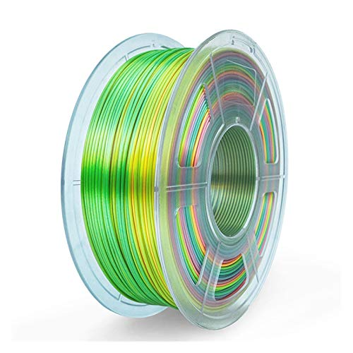 MMD 3D Printer Filament SILK PLA 1.75mm 1KG Silk Texture Plastic PLA 3D Filament Good Toughness 3 D Printing Materials (Color : Silk Rainbow01)