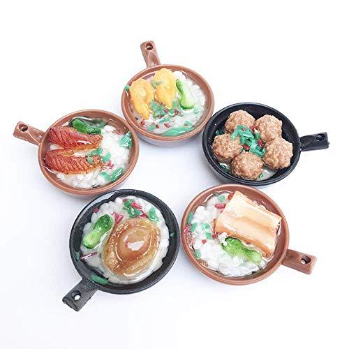 Detazhi Juego de Casas de muñecas 1:12 Mini Food Play SCENSE COLECCIÓN DE Alimentos BEBÉ Mini Accesorios de Cocina Accesorios periféricos Casserole Claypot Rice 5 PCS