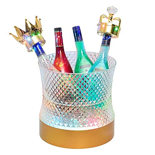 Cubo de hielo LED, cubo de hielo impermeable que cambia de colores, cubo de hielo para champán/vino/cerveza, cubo de hielo luminoso de PC degradado de 7 colores, se aplica a fiesta/casa/bar/club KTV
