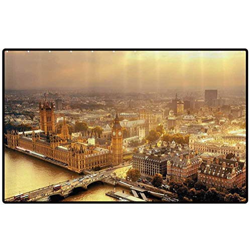 RenteriaDecor Fabric Small Kitchen Rug Westminster Aerial View with Thames River and London Urban Cityscape Panoramic Picture Outdoor Area Rugs for Sofa/Living Room/Dining Room/Bedroom