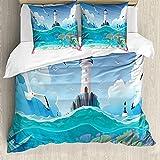 ABAKUHAUS Azul náutico Funda Nórdica, Torre de vigilancia de Las gaviotas, Estampado Lavable, 3 Piezas con 2 Fundas de Almohada, 200 cm x 200 cm - 80 x 80 cm, Multicolor