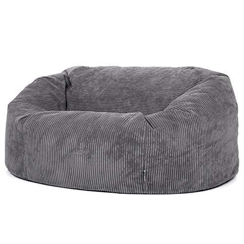 """Icon Sitzsack in Sofaform """"Soul"""", Anthrazitgrau, Riesige 2-Sitzer Sitzsäcke für das Wohnzimmer, Extra groß, Jumbo-Cord"""
