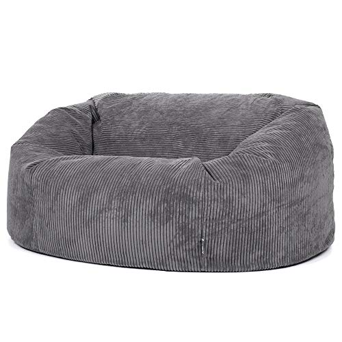 icon Soul Cord Loveseat Bean Bag Sofa, Charcoal Grey, Extra Large, 130cm x 116cm, Giant Two Seater Jumbo Cord Snuggle Seat, Living Room Bean Bags for Adults