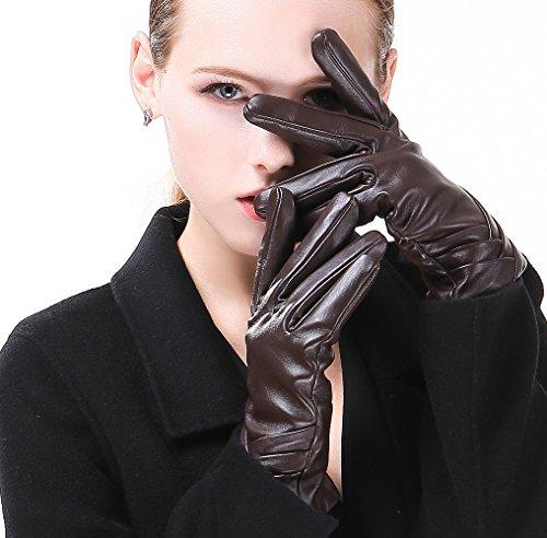 HARRMS Handschuhe, italienisches Nappaleder, luxuriös, für Damen, zum Fahren, Kaschmir-Futter - Braun - Small-16.51 cm (Standard Größe)