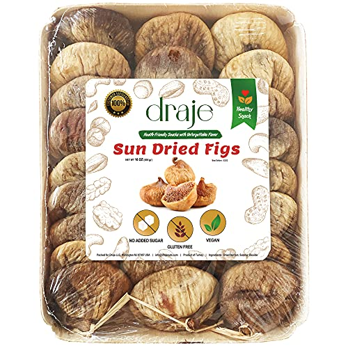 DRAJE Natural Sun-Dried Figs Tray, Unsulfured, Ideal Healthy Gift Tray for Your Family Friends and Housewarming, Fresh Bulk Unsweetened, Whole Dried Fruits, No Sugar Added, Keto Vegan Snack, 16 oz