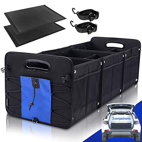 GEEDAR Car Trunk Organizer for SUV (3 Large Compartments) Collapsible Portable Non-Slip Bottom with Tie Down Straps (Blue)