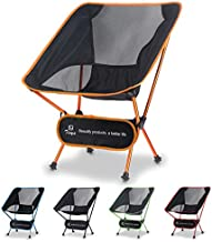 Tinya Ultralight Backpacking Camping Chair: Kids Adults Backpacker Heavy Duty 250lb Capacity Packable Collapsible Portable Lightweight Compact Folding Beach Outdoor Picnic Travel Hiking(Orange)