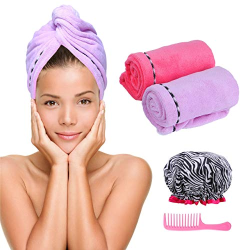 Microfiber Hair Towel Turban Wrap – 2 Pc Head Wraps for Women Bundled with Shower Cap and Comb for Women Anti-Frizz Absorbent Twist Drying Shower Towel Hat Works Like Magic Quick Dry