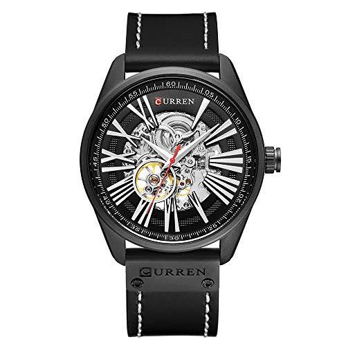 CURREN Herrenuhr Mechanische Tourbillon Uhr Armbanduhr Kalender Leder Automatische Selbstwind Sportuhr
