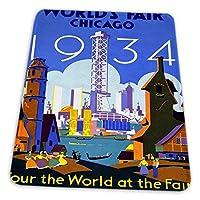 ゲーミングマウスパッド - 展覧会ワールドフェアシカゴ1934文化USAヴィンテージ マウスパッド おしゃれ ゲームおよびオフィス用/防水/洗える/滑り止め/ファッショナブルで丈夫 25x30cm
