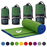 Fit-Flip Toalla Microfibra – 18 Colores, Muchos tamaños – conjucto de Toallas de Microfibra – Toalla Gym, Toalla Viaje y Toalla Piscina (Set2: 80x160cm + 40x80cm Verde Oscura - Borde Azul Oscuro)