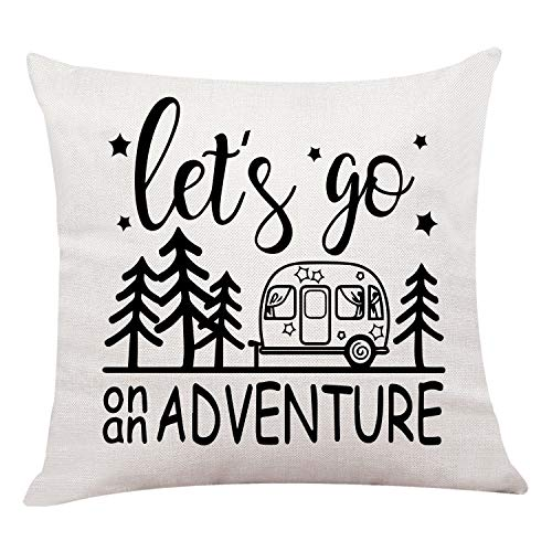 Ku-dayi Adventure Awaits Pillow Cover, Throw Pillow, Adventure Awaits, Adventure Awaits Pillow, Mountain Pillow, Adventure Home Decor, (Let's go)