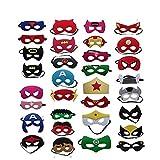 Superhelden Masken, 32 Stück Kinder Masken Halbe Augenmasken für Kinder Erwachsene Partytasche...