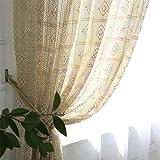 Deamos Cortina vintage de ganchillo, estilo rústico, cortina de punto bohemio, algodón, lino, cocina, salón, ventana, 1 unidad, 180 x 240 cm