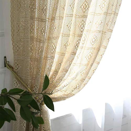 "Muccyy Boho Chic Crochet Knitting Cotton Linen Window Curtain Panel Farmhouse Retro Rod Pocket Window Beige Sheer Curtains for Bedroom Living Room, 1 Piece,59"" Wide 86"" Long"