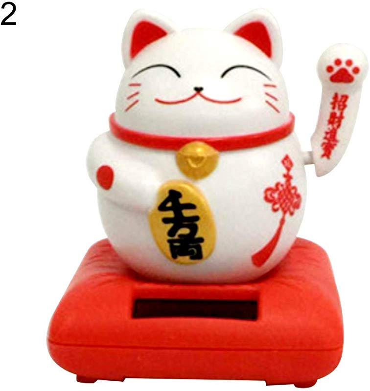 Tcplyn Premium Quality Cute Lucky Cat Solar Powered Swing Toy Car Dashboard Ornament Home Desk Decor Red