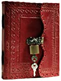 PRASTARA Leather Lock and Key Diary 200 Pages, 5 x 7 Inches (Red)
