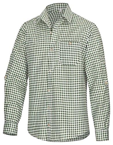 TR Martha Chemise à manches longues pour homme - À carreaux - Pour la fête de la bière - Convient pour un pantalon en cuir - Disponible en 4 couleurs - Vert - X-Large