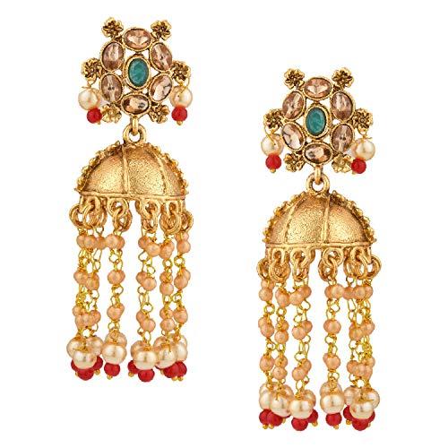 Efulgenz Indian Bollywood Antique Gold Plated Traditional Wedding Crystal Pearl Tassel Jhumka Jhumki Earrings Jewellery Set