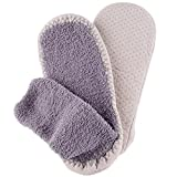 Home-X Man Adult Soft Knit Gripper, Non Skid Slippers. One Size Fits All. 9-12 Gray.