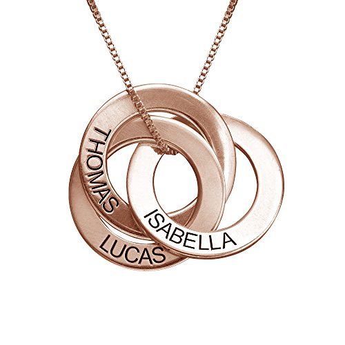 MyNameNecklace Collar Anillo Ruso Grabado (Chapado en Oro Rosa 18k)