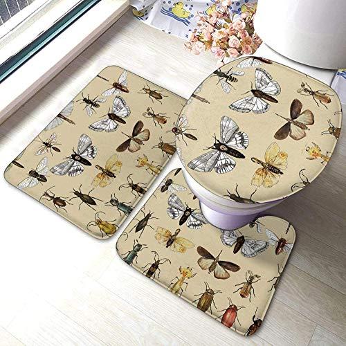 Colección de estudios de insectos de entomología, juego de alfombras de baño antideslizantes de 3 piezas, almohadillas antideslizantes para sala de estar, alfombrilla de baño + tapa de inodoro