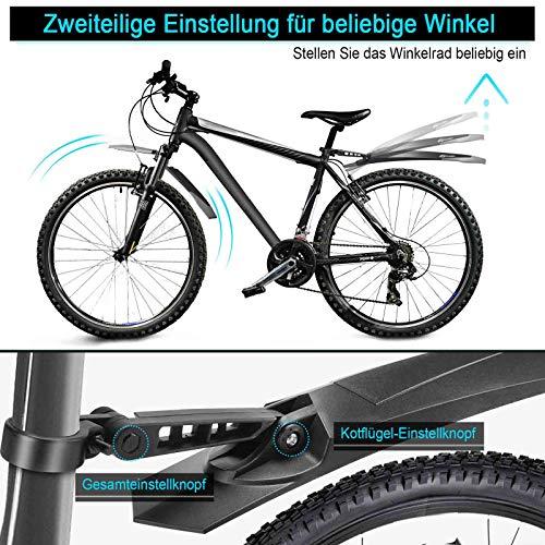 toptrek Fahrrad Schutzblech Set für 24-29 Zoll, Verstellbarer Fahrradschutzblech zum Schutz vor Spritzwasser & Schmutz, Schutzbleche Mountainbike Schnelldemontage-Design MTB Schutzblech