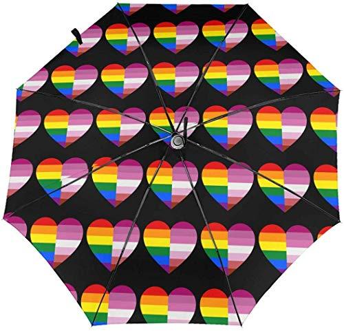 Paraguas LGBT con diseño de corazón y bandera transgénero automático de tres pliegues
