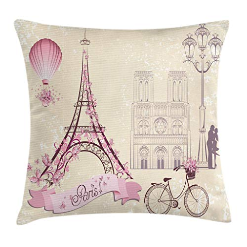 Kiss Throw Pillow Cojín, Floral Pariss Monumentos Torre Eiffel Globo aerostático Bicicleta Pareja romántica, 45X45 Cm, Marfil Rosa