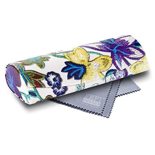 FEFI Hardcase Brillenetui im schicken Blumen-Design - mit Magnetverschluß - inklusive hochwertigem Brillenputztuch/Microfasertuch (Blau)