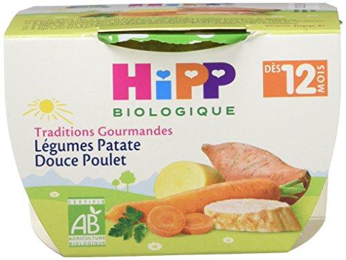 Hipp Biologique Traditions Gourmandes Légumes Patate Douce Poulet dès 12 mois - 8 bols de 220 g