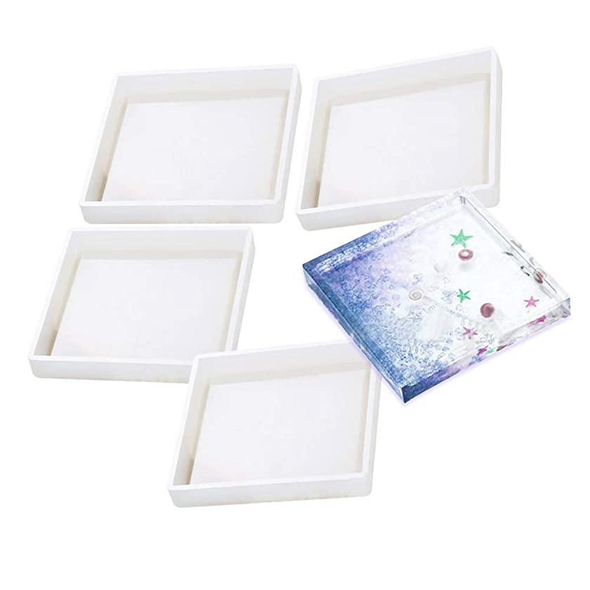 4 Pack DIY Silicone Coaster Molds, KeyZone Square Epoxy Casting Molds for Resin, Concrete, Cement, Home Decoration