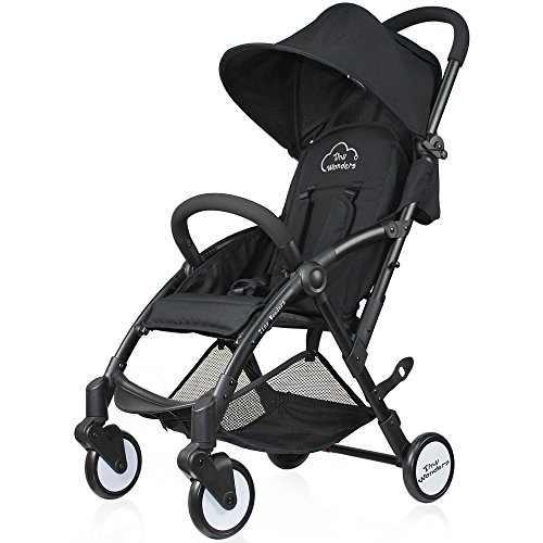 Tiny Wonders Black Lightweight Compact Baby Stroller, Portable Airplane Travel Carry On Strollers,...
