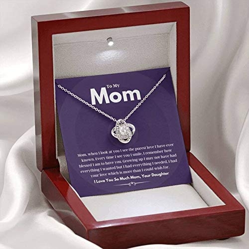 Sterling Silver Chain Gifts Jewelry For Women Her Accessories Letter -Celtic Knot Love Necklace Mahogany With Light,To My Mom I Had Your Love Which Is More Than I Could Wish For