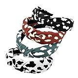 Bandas para la cabeza de patrón para mujer, 4 paquetes de banda de tela mezclada, accesorios para el cabello con nudo (ArchRetroLeopard4)