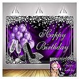 Purple Balloons Silver High Heels Champagne Diamond Women Happy Birthday Theme Photo Backdrops 7X5ft Princess Girl 16st 18st 20st Birthday Photography Background Cake Dessert Table Decor Supplies