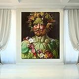 ZHJJD Rudolf II de Habsburg Pintura en Lienzo Cuadros de Arte de Pared Famosos Obras de Arte de Giuseppe Arcimboldo para Salon de Estar póster de Decoracion del hogar 60x80cm sin Marco