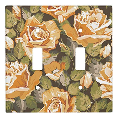 2 Gang Wall Plate Cover Decorator Wall Switch Light Plate Double Toggle Switch Beautiful Floral Sketch 4 Classic Beadboard Unbreakable Faceplate