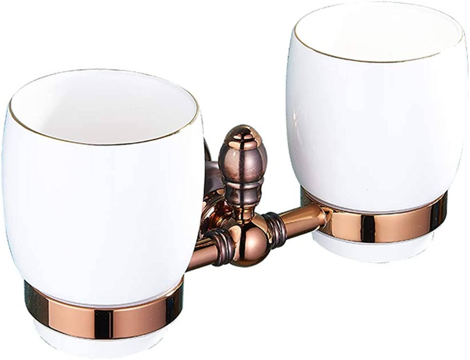 LUDSUY Bathroom accessoriespink gold Cups Metal Pendant Bathroom Toilet Brush Cup Suit All Copper Brown Ancient Dual Cup Holders, B