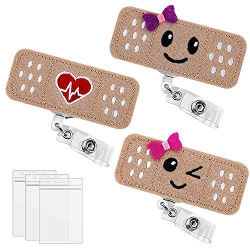 3 Pack Bandaid Badge Reel Holder, Premium...