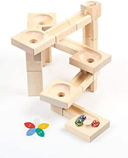 VARIS Wooden Fix & Lock Marble Run Twister Edition, Early Learning Construction Toys for Kids, European Made Puzzle Blocks
