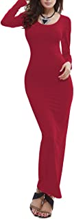 Women's Casual Long Dress Long Sleeve Maxi Solid Color Bodycon Dress