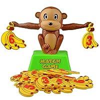 おもちゃ モンキーデジタルバランススケールグッズ早期学習バランス子供啓発デジタル追加と減算数学スケール玩具 (Color : Banana monkey)
