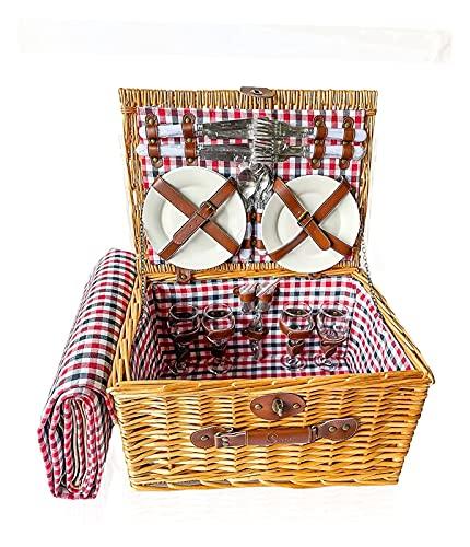 Deluxe 4 Person traditioneller Wicker-Picknickkorb - Wicker-Korb Set mit wasserdichtem Picknick-Decke, Keramikplatten, Weingläser, Korkenzieher, Zahnstocher-Flasche und Servietten für den Außenkampier
