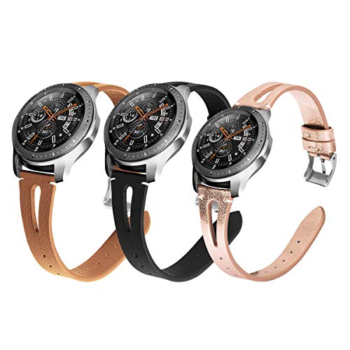 YSSNH 22mm Quick Release Watch Band Genuine Leather, Replacement for Galaxy Watch3 45mm Galaxy Watch 46mm Gear S3 Classic/Frontier Smart Watch with 22mm Luggs for Women
