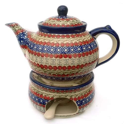 Bunzlauer Keramik Teekanne mit Stövchen (Dekor Siena)