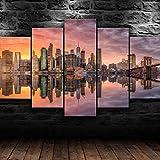 SHENQI-Lienzo Arte Impresiones Cartel De Pared Cuadro Modular 5 Panel- Póster Impresión De Brooklyn De La Ciudad De Nueva York -Decoración del Hogar Sala De Estar Pinturas Modernas Marco