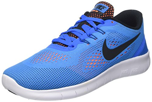Nike Free RN (GS) Running Trainers 833989 Sneakers Shoes (6.5 Big Kid M, Photo Blue Black Total Orange White 400)